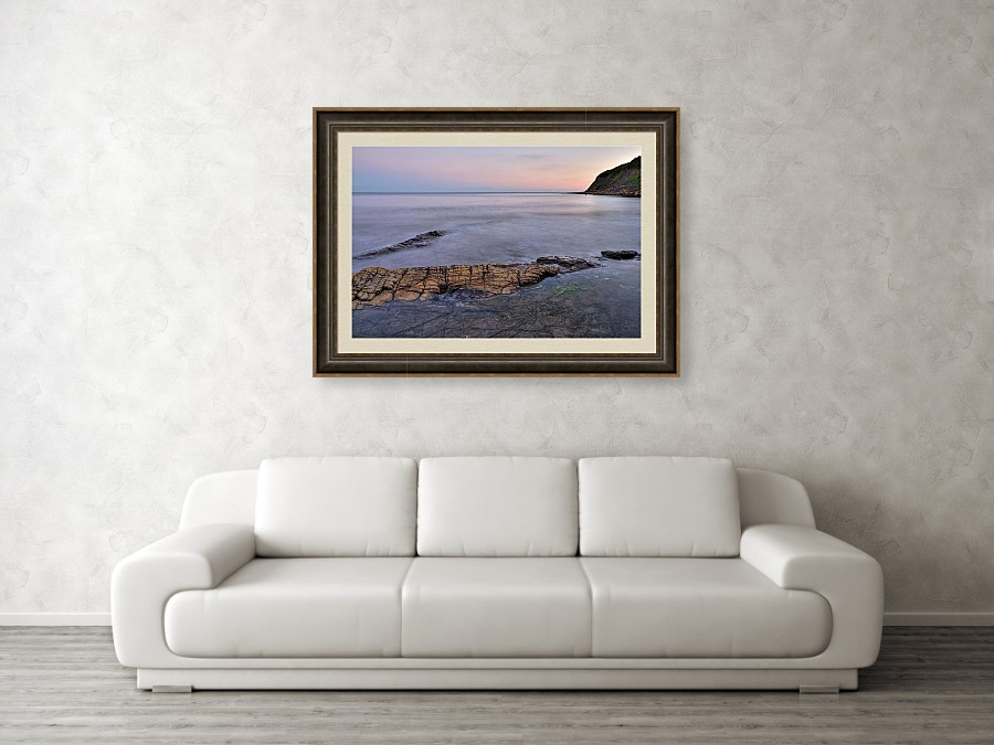 Framed print example of the Kimmeridge Bay photo.