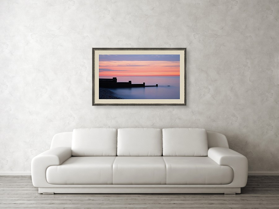 Framed print example of the White Cliffs of Dover at sunrise photo.