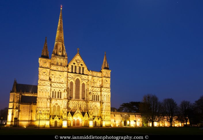 Salisbury cathedral from the front at dusk, Wiltshire, England.
