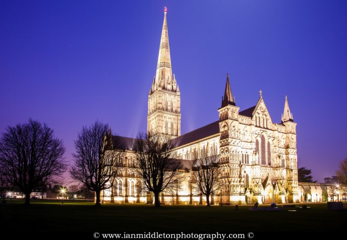 Salisbury cathedral at dusk, Wiltshire, England.
