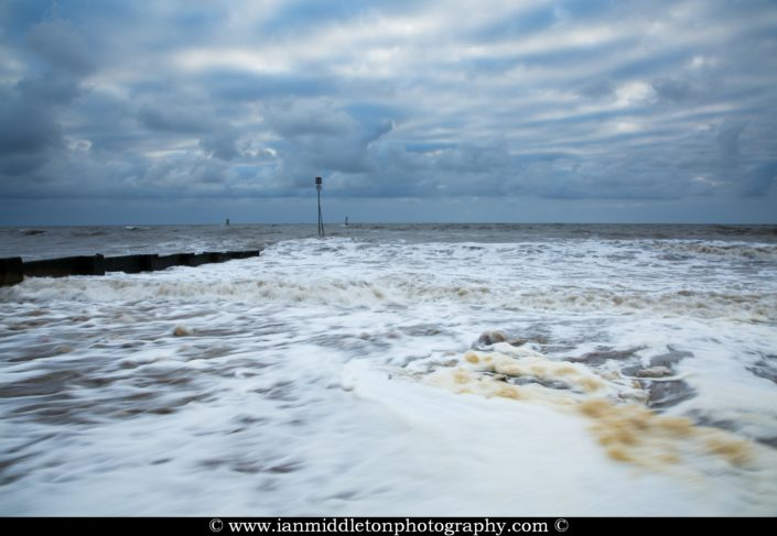 Stormy weather at Hunstanton beach, West Norfolk, England.