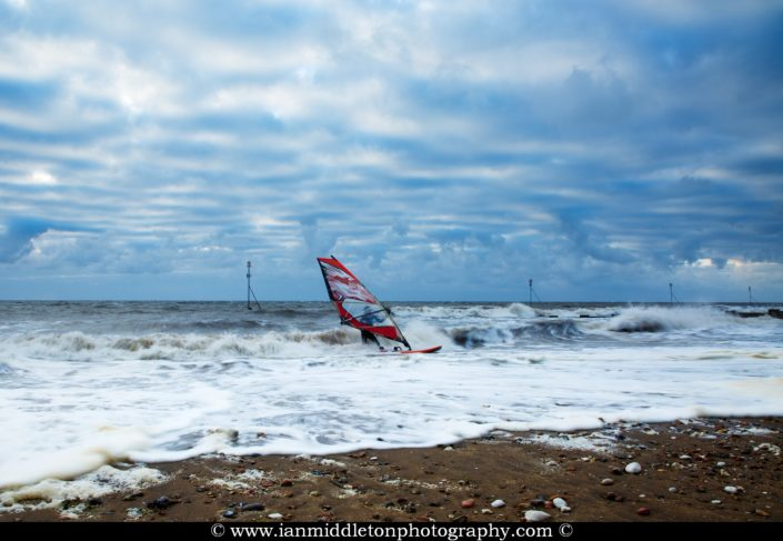 Windsurfing at Hunstanton beach, West Norfolk, England.