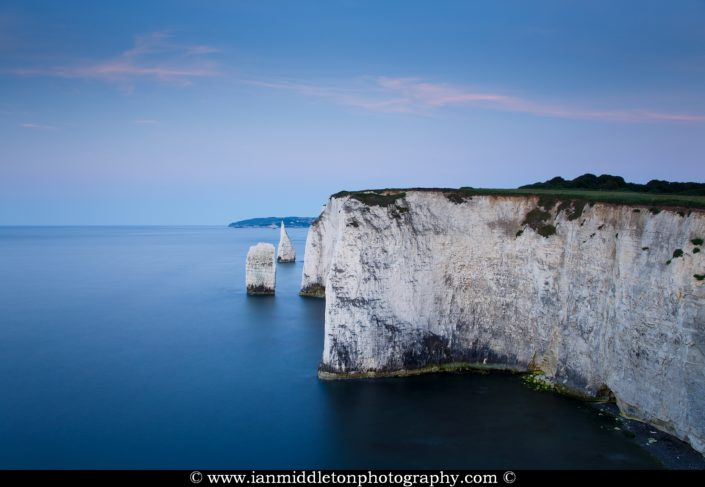 Early sunrise at Old Harry Rocks, at Handfast Point on the Isle of Purbeck, Jurassic Coast, Dorset, England. A UNESCO World Heritage Site