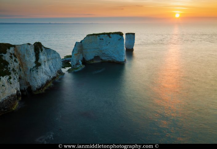 Sunrise at Old Harry Rocks, Jurassic Coast, Dorset, England. A UNESCO World Heritage Site.