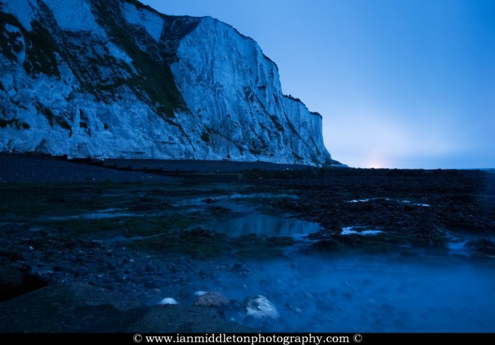 Dawn at Saint Margaret Bay, at the famous White Cliff of Dover, Kent, England