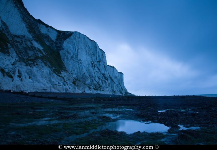 Blue hour dawn at Saint Margaret Bay, at the famous White Cliff of Dover, Kent, England
