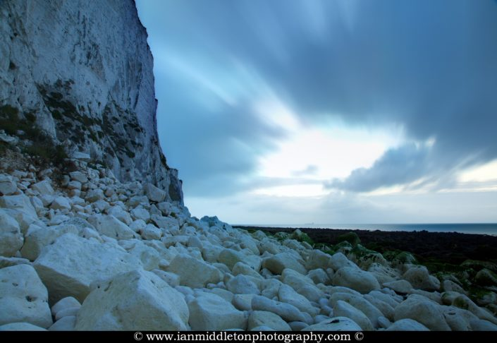 Dawn breaks at Saint Margaret Bay, at the famous White Cliff of Dover, Kent, England