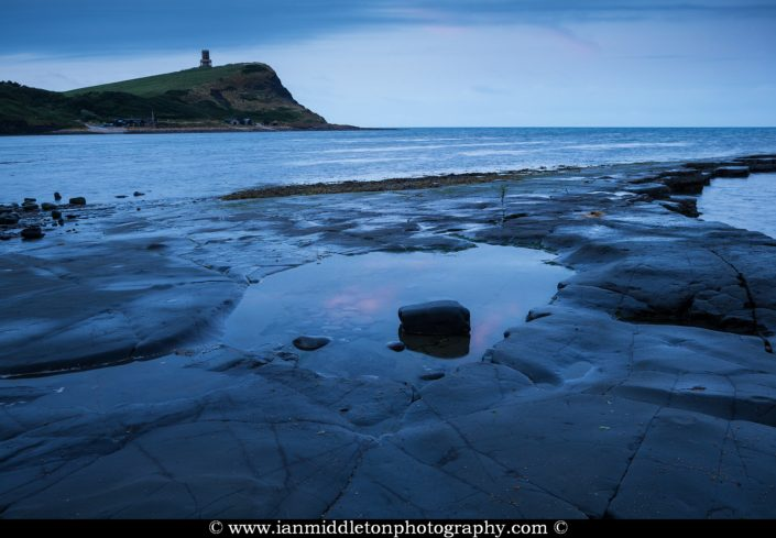 The beautiful coastal landscape at Kimmeridge bay in Dorset at dusk. This is one of the many wonders to be found on the Jurassic coast, an UNESCO world heritage site.