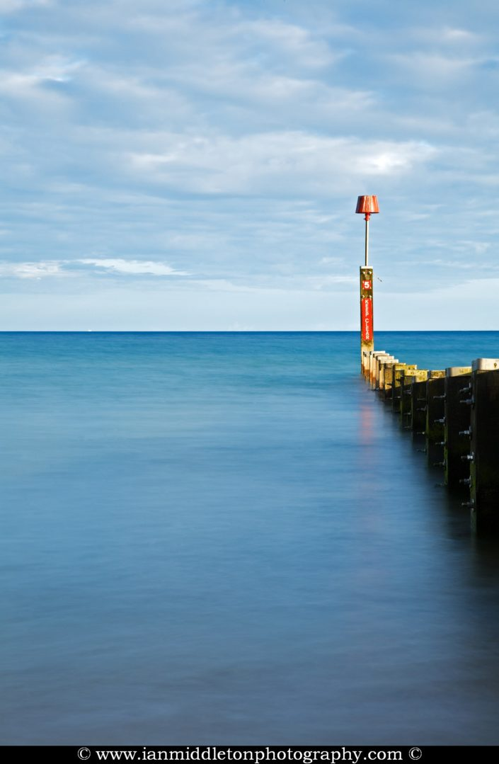 Bournemouth Beach groyne, at sundown, Dorset, England