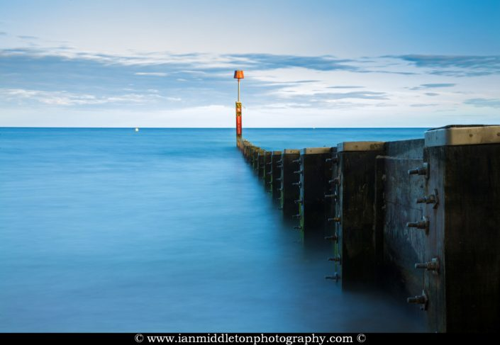Bournemouth Beach groyne, at sundown, Dorset, England