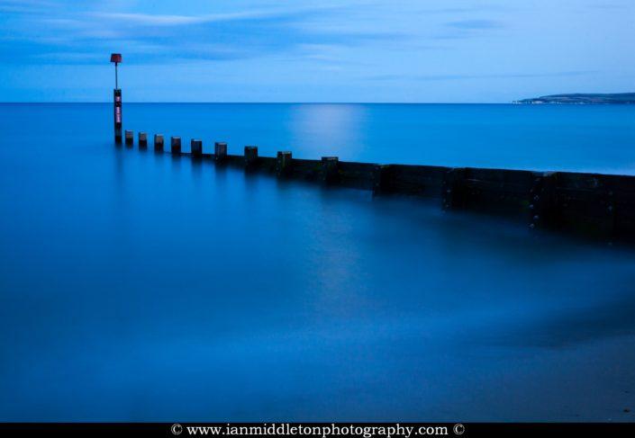 Bournemouth groyne, at dusk, Dorset, England