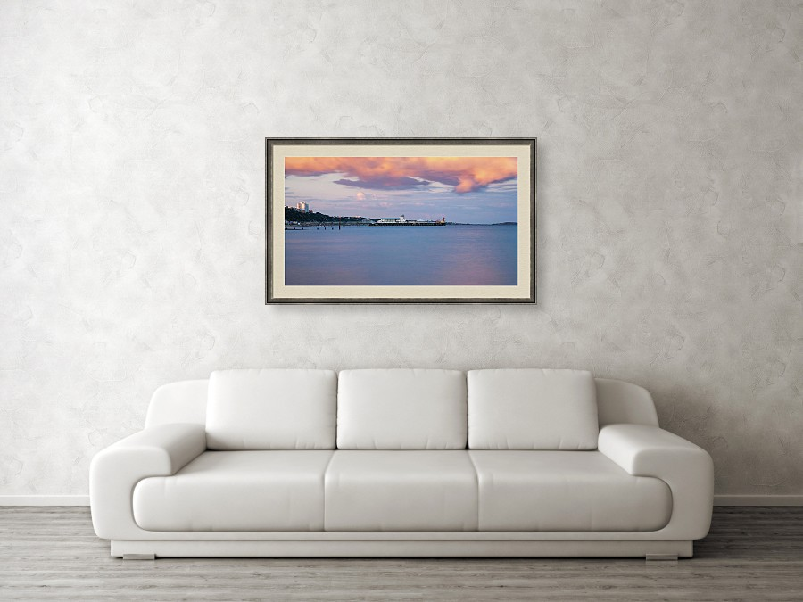 Framed print example of Bournemouth Pier at sunset photo.