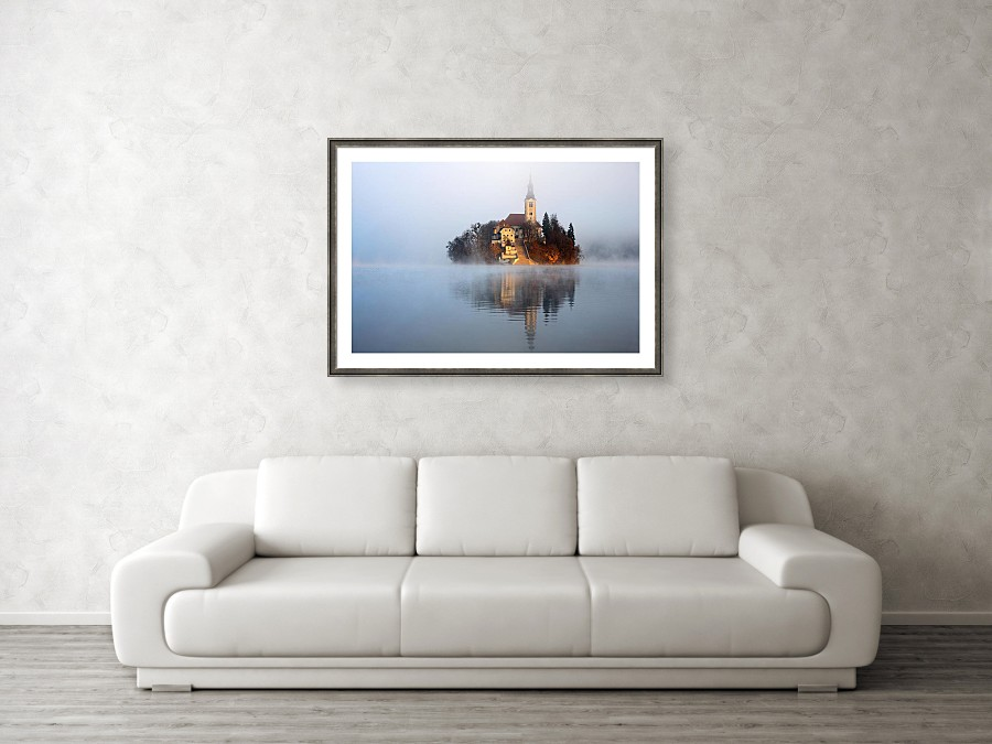 Framed print example of Lake Bled in the mist photo.