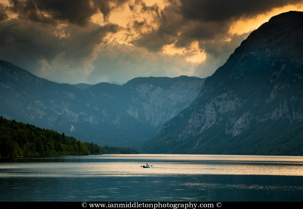 The Julian Alps and Lake Bohinj as the sun goes down for the evening, Triglav National Park, Slovenia