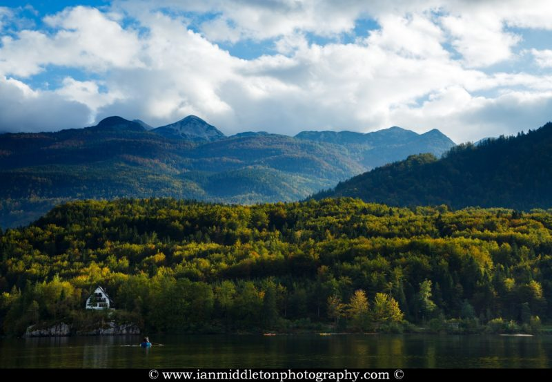 Early Autumn colours over Lake Bohinj, Triglav National Park, Slovenia