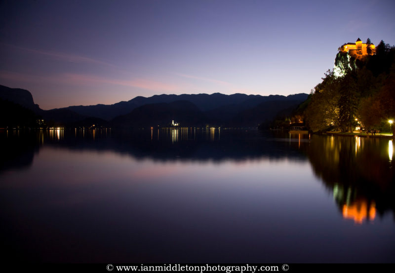 View across Lake Bled at dusk, Slovenia.