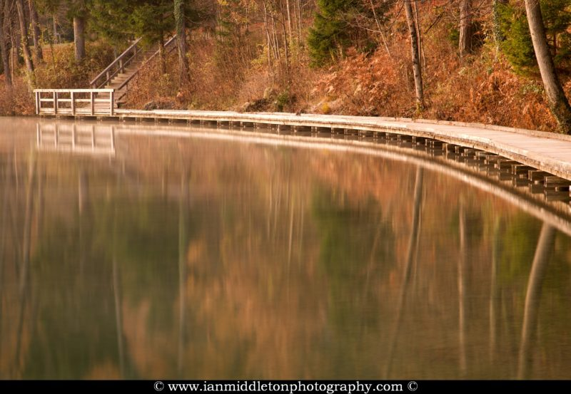 View along the wooden walkway beside Lake Bled with the autumn colours and trees reflected in the still water, Slovenia.