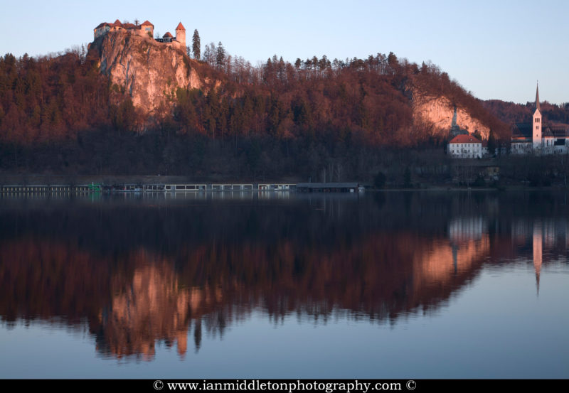 View across Lake Bled , Slovenia .