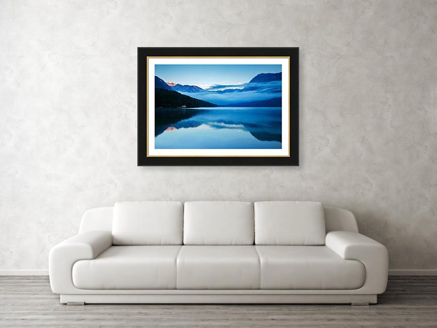 Framed print example of Lake Bohinj at dawn photo.