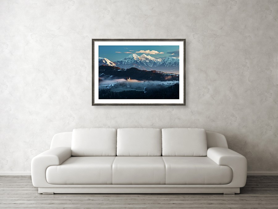 Framed print example of Saint Thomas church and mountains photo.
