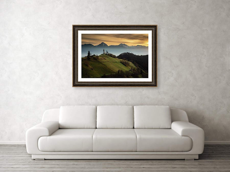 Framed print example of Jamnik church and mountains photo.
