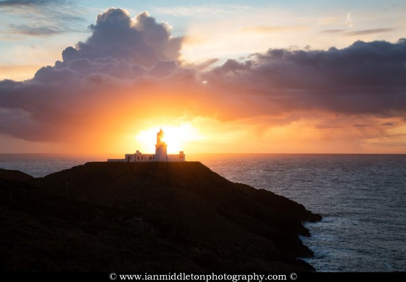 Lighthouse at Strumble Head at sunset, Pembrokeshire, Wales