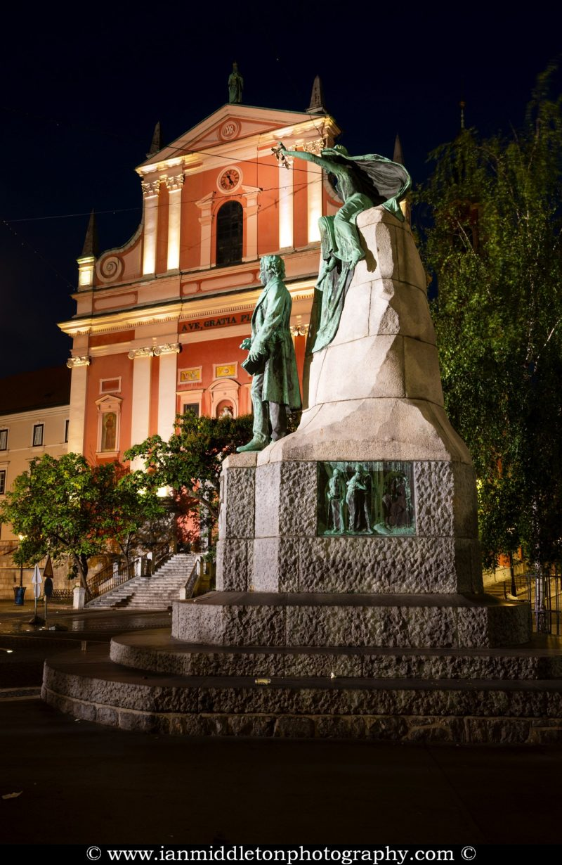 Preseren Square in Ljubljana at dawn, Ljubljana, Slovenia. The beautiful Franciscan church and Preseren statue.