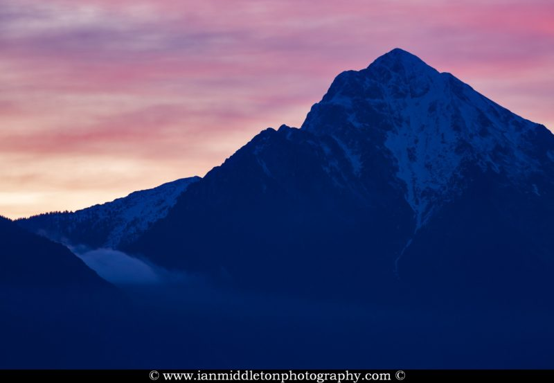 View of Storzic mountain, part of the Kamnik Alps, at dawn, Slovenia.