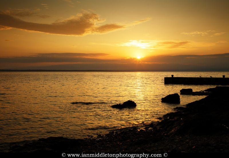 Sunrise over zaosiri beach, Cunski. Cunski lies just 8kms north of Mali Losinj on Losinj Island, Croatia.