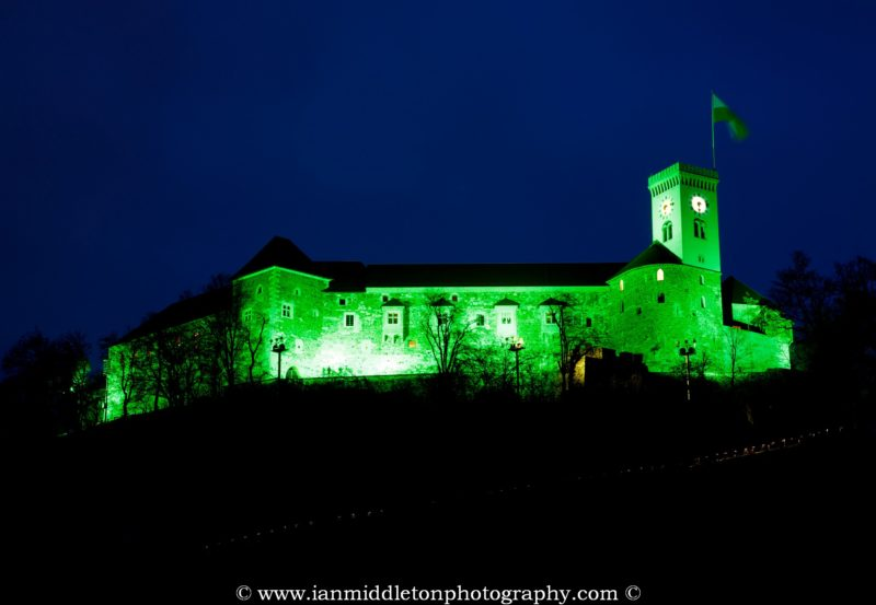 Ljubljana Castle lit up green at night to celebrate its status as European Green Capital 2016, Slovenia.