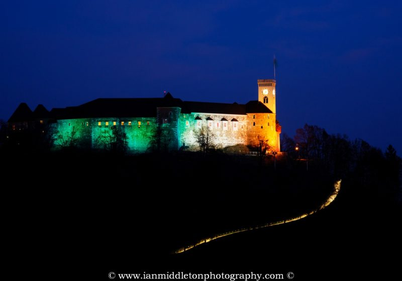 Ljubljana Castle lit up in the colours of the Irish flag to celebrate Saint Patrick's Day weekend 2016 in Slovenia. The castle was lit up green last year to celebrate the event, but as Ljubljana is the European Green Capital for 2016 the castle is already being lit green at night for the whole year. So the Irish embassy arranged for the colours of the flag to adorn the castle for 2016.