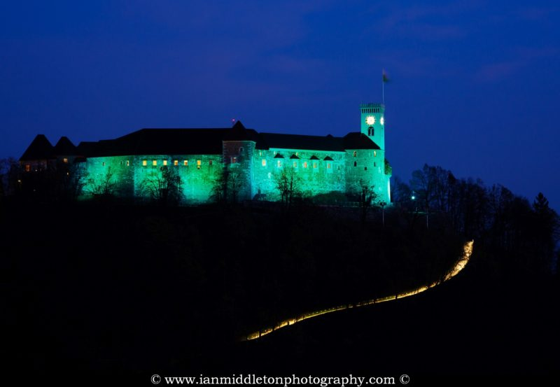Ljubljana Castle lit up green to celebrate its status as European Green Capital 2016, Slovenia