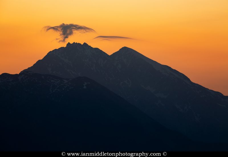 Mountain peak at sunrise, Kamnik Alps, Slovenia.