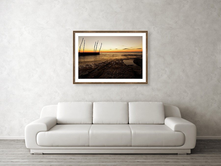 Framed print example of Basanija at sunset photo.