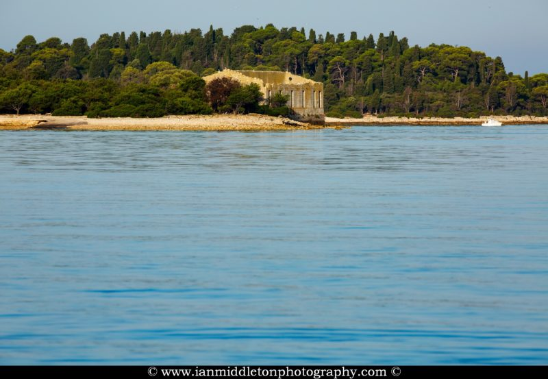 Ruins on Veli Brijuni Island, Croatia. Seen from Puntižela Beach, Štinjan north of Pula.