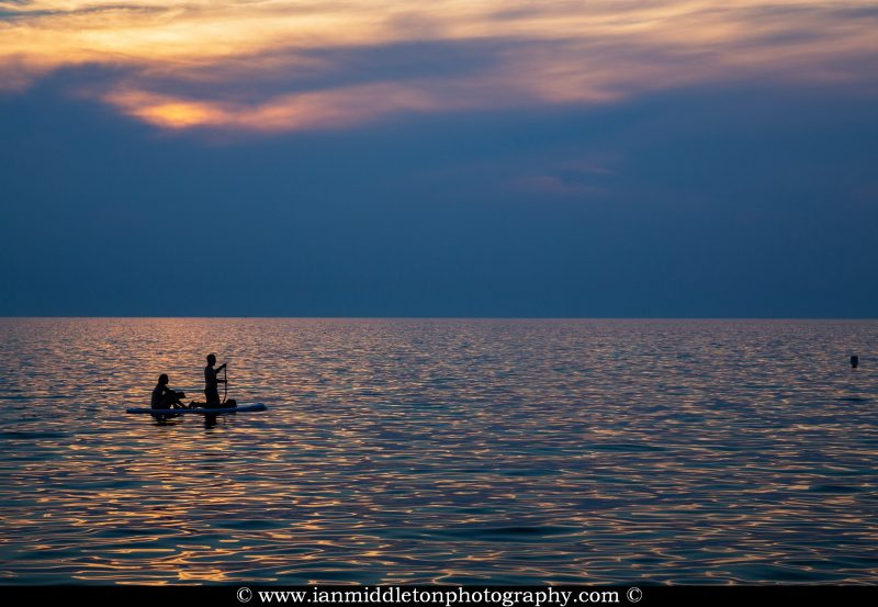 SUP at Sunset at Strunjan on the Adriatic Coast in Slovenia.
