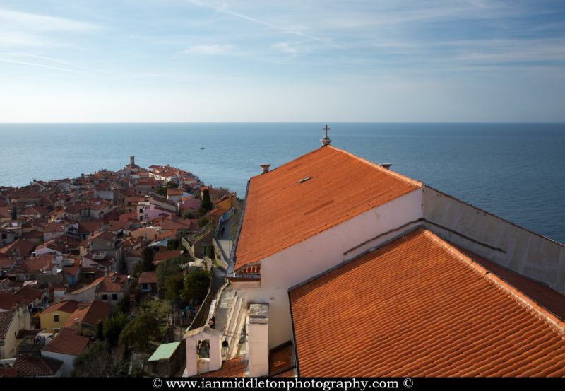 View from Saint George's campanile in Piran, Slovenia. The campanile was built as a smaller replica of the one in Piazza San Marco in Venice.
