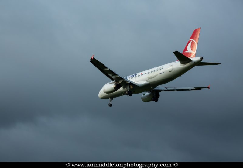 Turkish Airlines aircraft landing at Ljubljana Joze Pucnik Airport in Brnik, Slovenia.