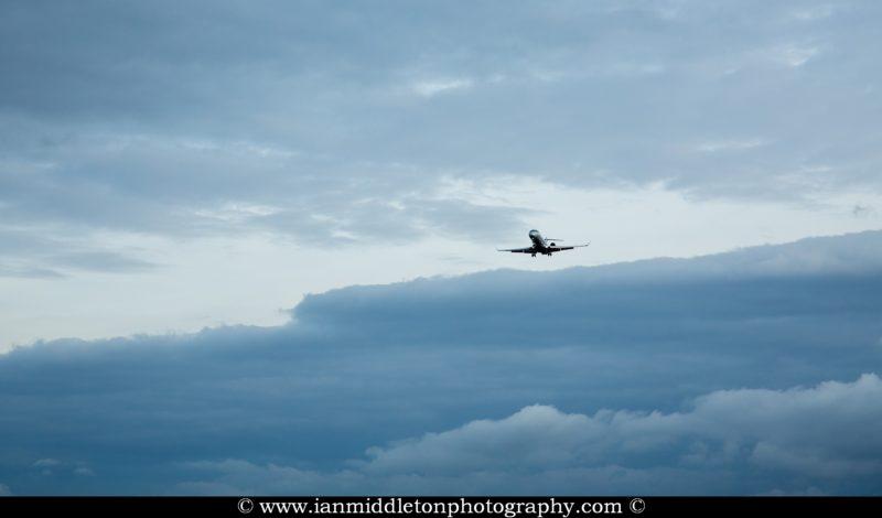 Adria aircraft landing at Ljubljana Joze Pucnik Airport in Brnik, Slovenia.