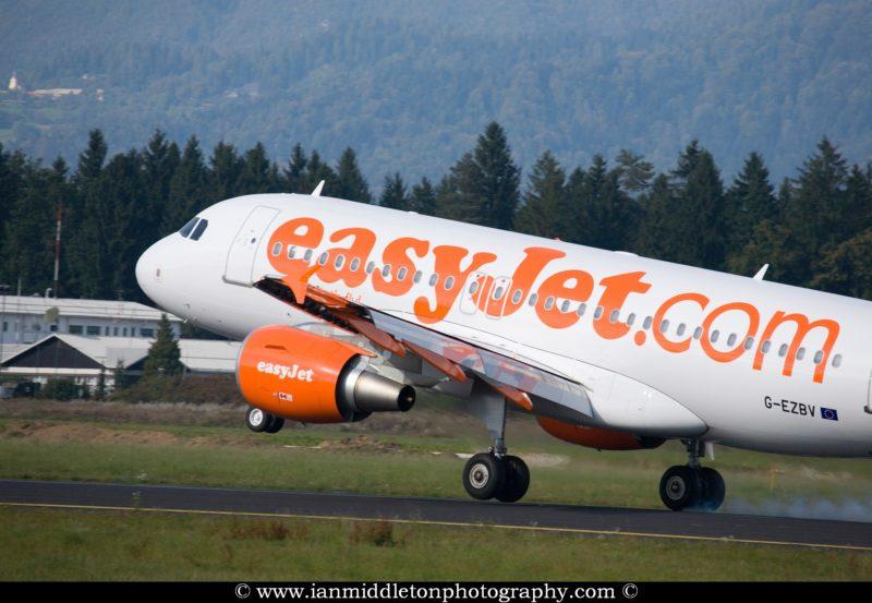 Easyjet Aircraft landing at Ljubljanas Joze Pucnik Airport in Brnik, Slovenia.
