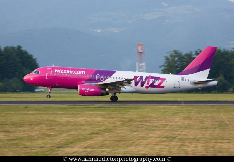 Wizz Air Aircraft landing at Ljubljanas Joze Pucnik Airport in Brnik, Slovenia.