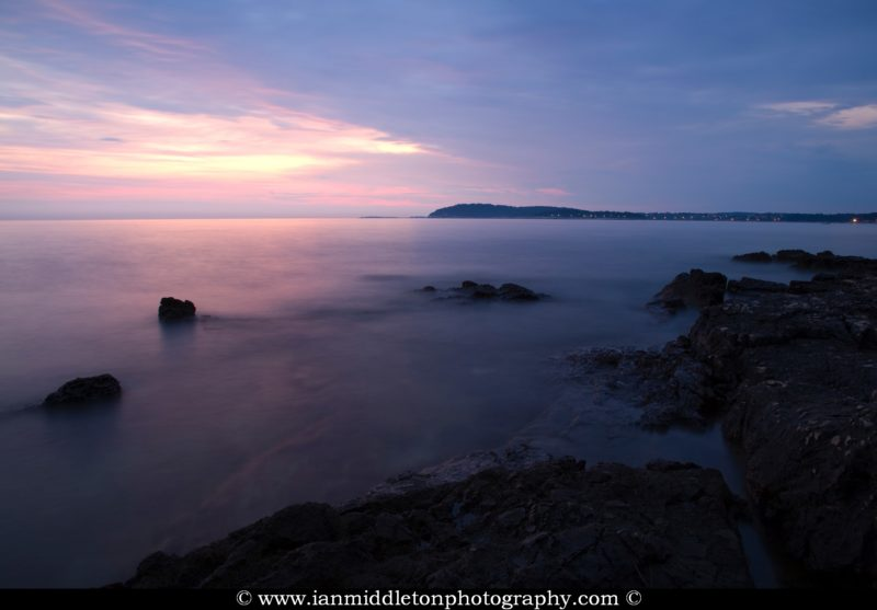 Verudela Beach, Pula, Croatia. The beautiful Istrian coastline and view from behind the Hotel Brioni at sunset.