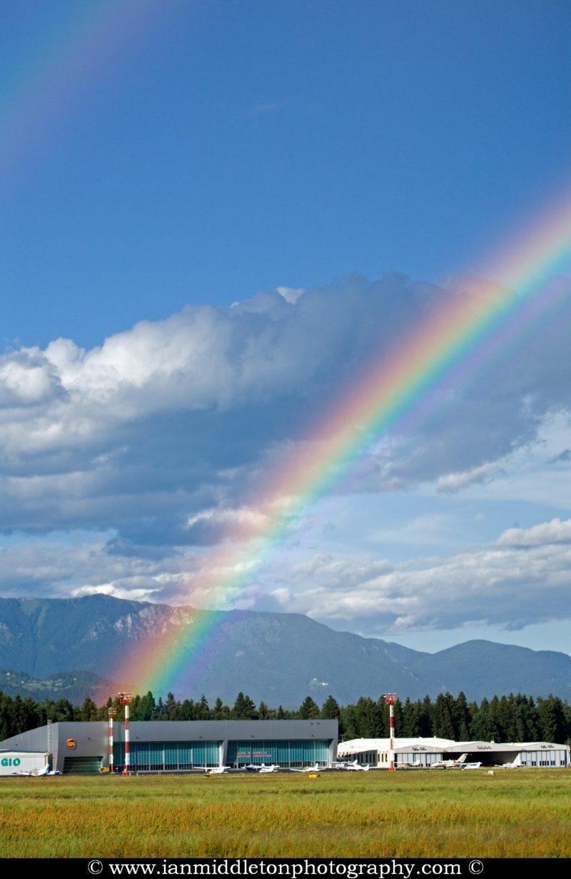 Rainbow over Ljubljana Joze Pucnik Airport, Slovenia.