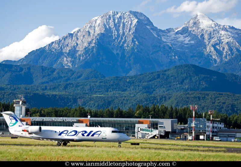 Adria airplane preparing to take off from Ljubljana Joze Pucnik
