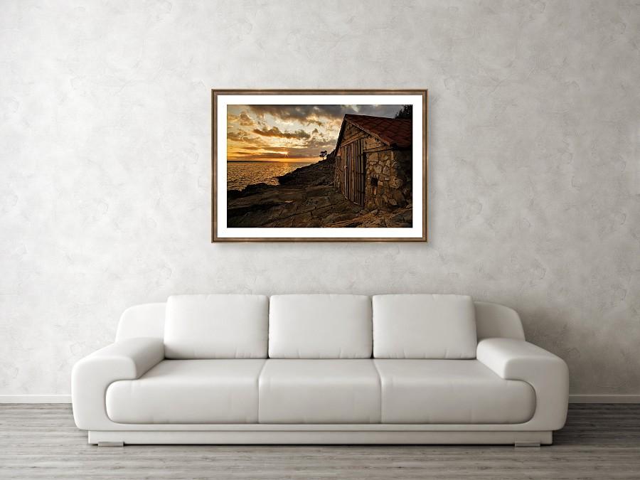Framed print example of Zaosiri Beach on Losinj Island at sunrise photo.