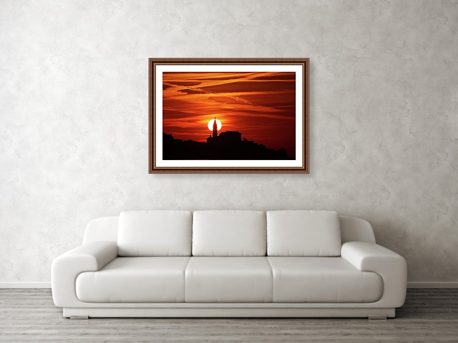 Framed print example of Piran church at sunset photo.
