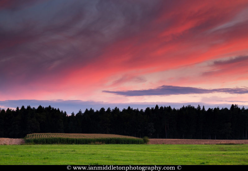 View across the fields in Brnik at sunset, Slovenia. Taken near the Ljubljana Joze Pucnik Airport.
