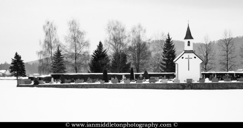 Winter view of a little chapel in Vodice, Gorenjska, Slovenia.