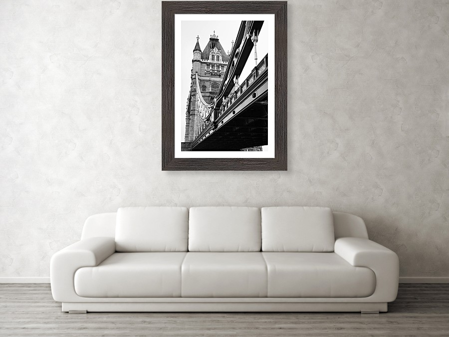 Framed print example of Tower Bridge in London photo.