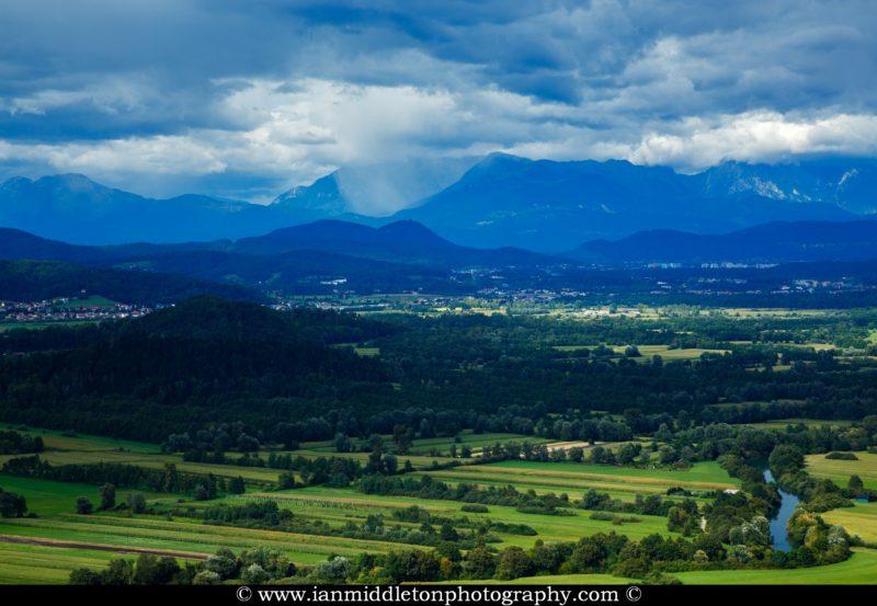 View across the Ljubljana Moors to the Ljubljanica river and the Kamnik Alps mountains. Ljubljana Marshland (Ljubljansko Barje), a large area of wetland 160 square kilometres in size.